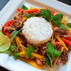 Cambodian Spicy Papaya Beef Salad Recipe (Lahong Plea Sach Ko)