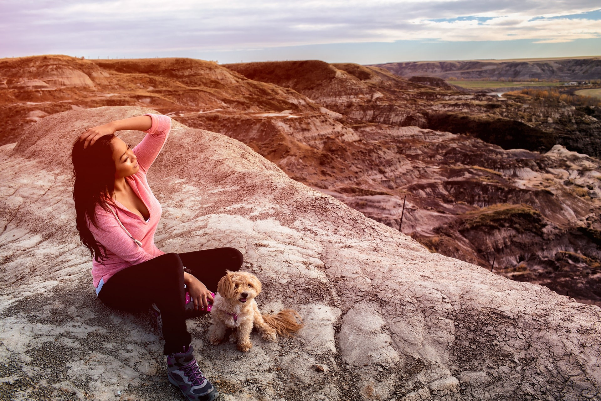 My cute puppy and Saven Mi enjoying the view at Horseshoe Canyon