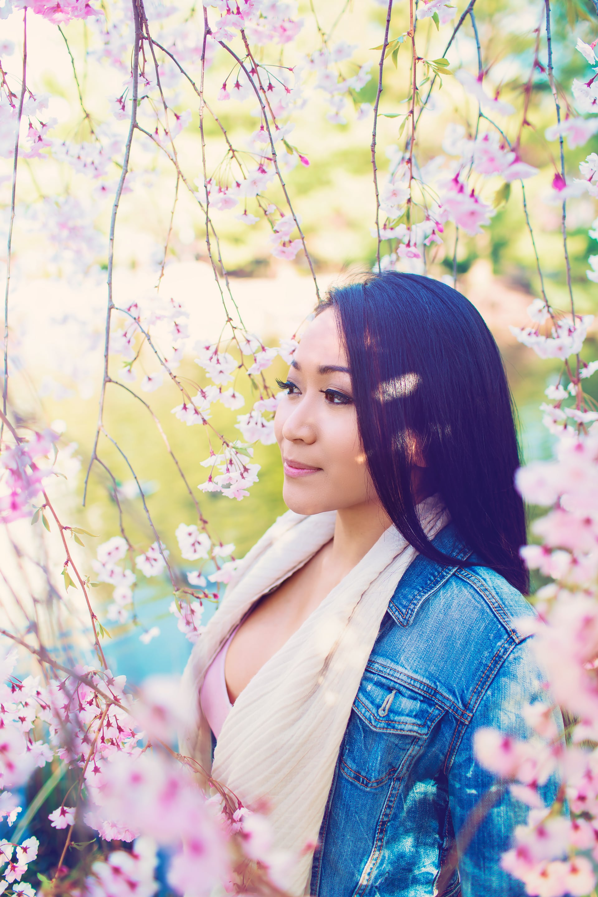 Girl standing under the Cherry blossom tree at Kariya Park Mississauga