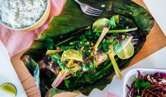 Khmer Food Steamed Fish with lemongrass and galangal in banana leaves