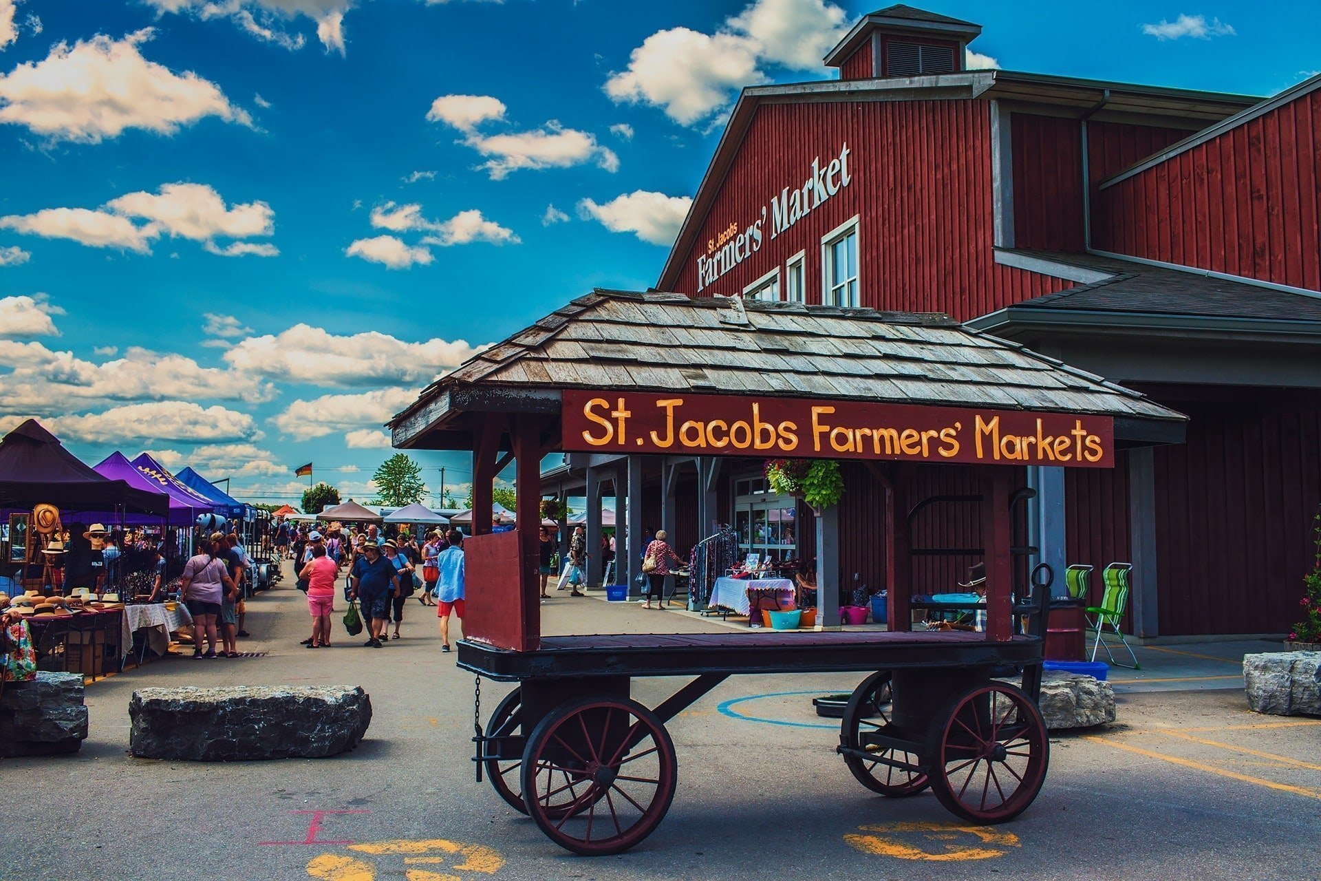 World famous St. Jacobs Farmers Market in St. Jacobs Ontario