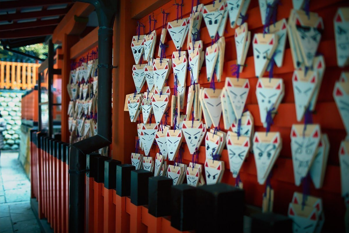 Fox ema wooden wishing plaques at Fushimi Inari Shrine