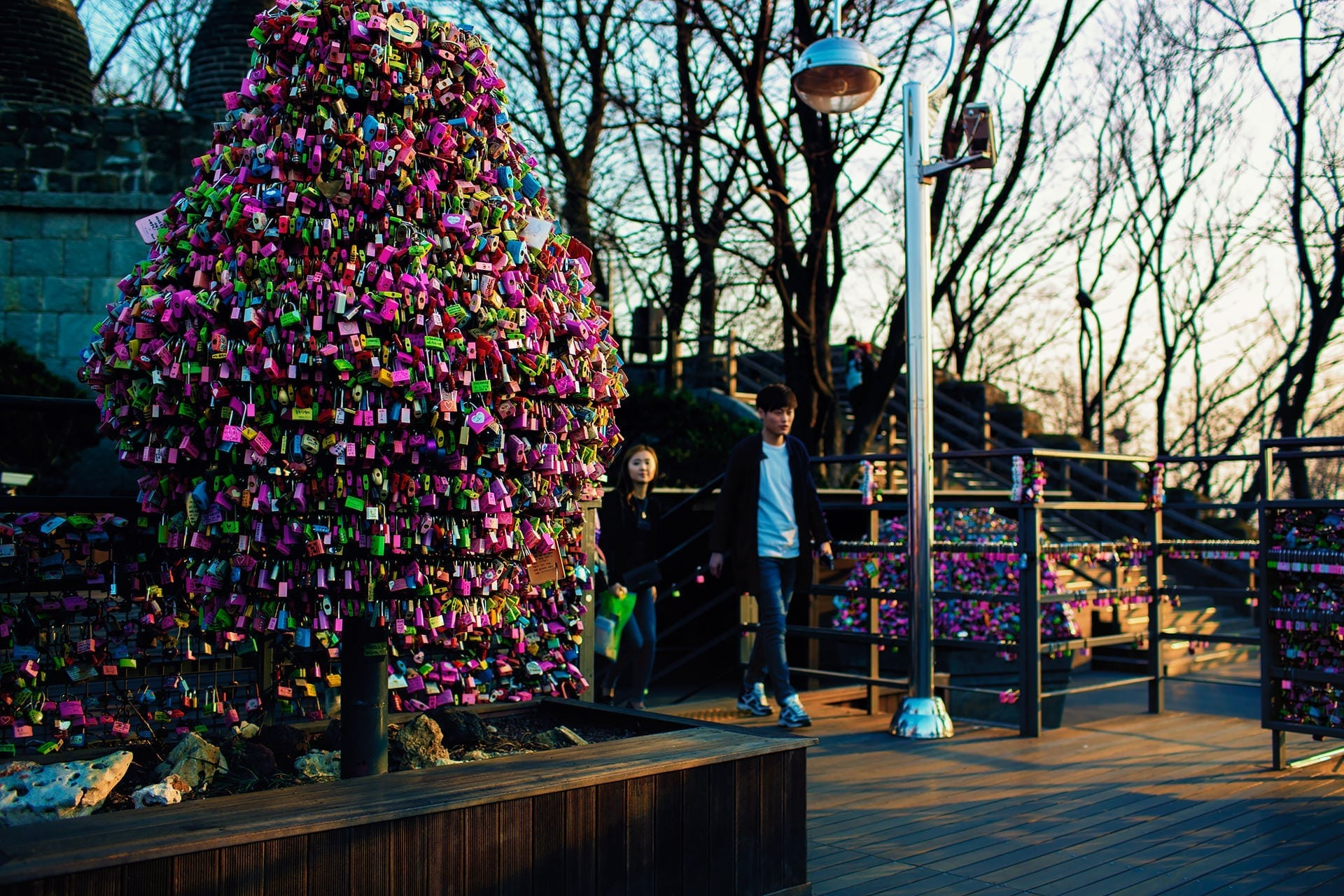 Love Lock Tree at N Seoul Tower at Namsan Park in Seoul South Korea