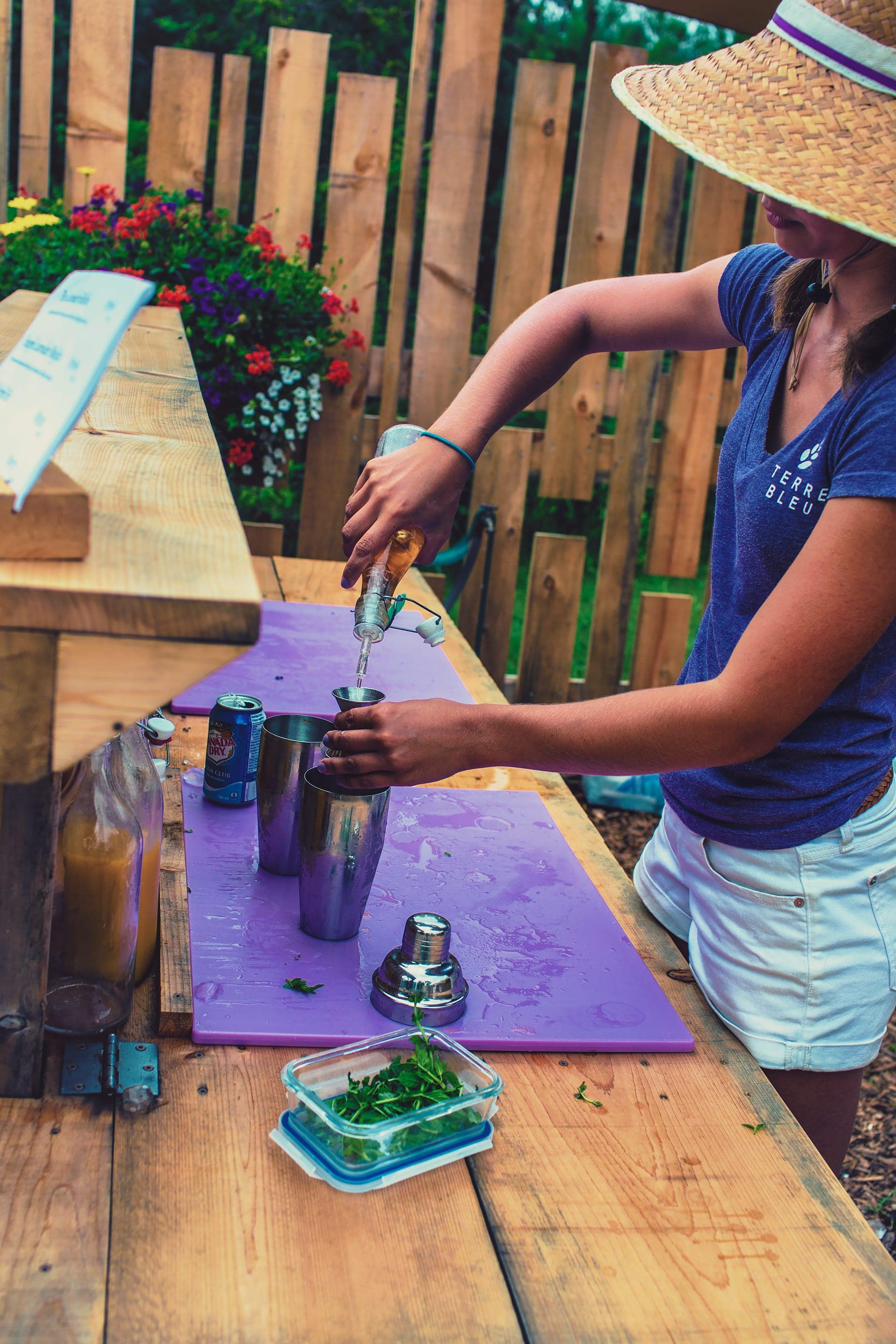 Lavender mojito being made at Terre Bleu Lavender Farm
