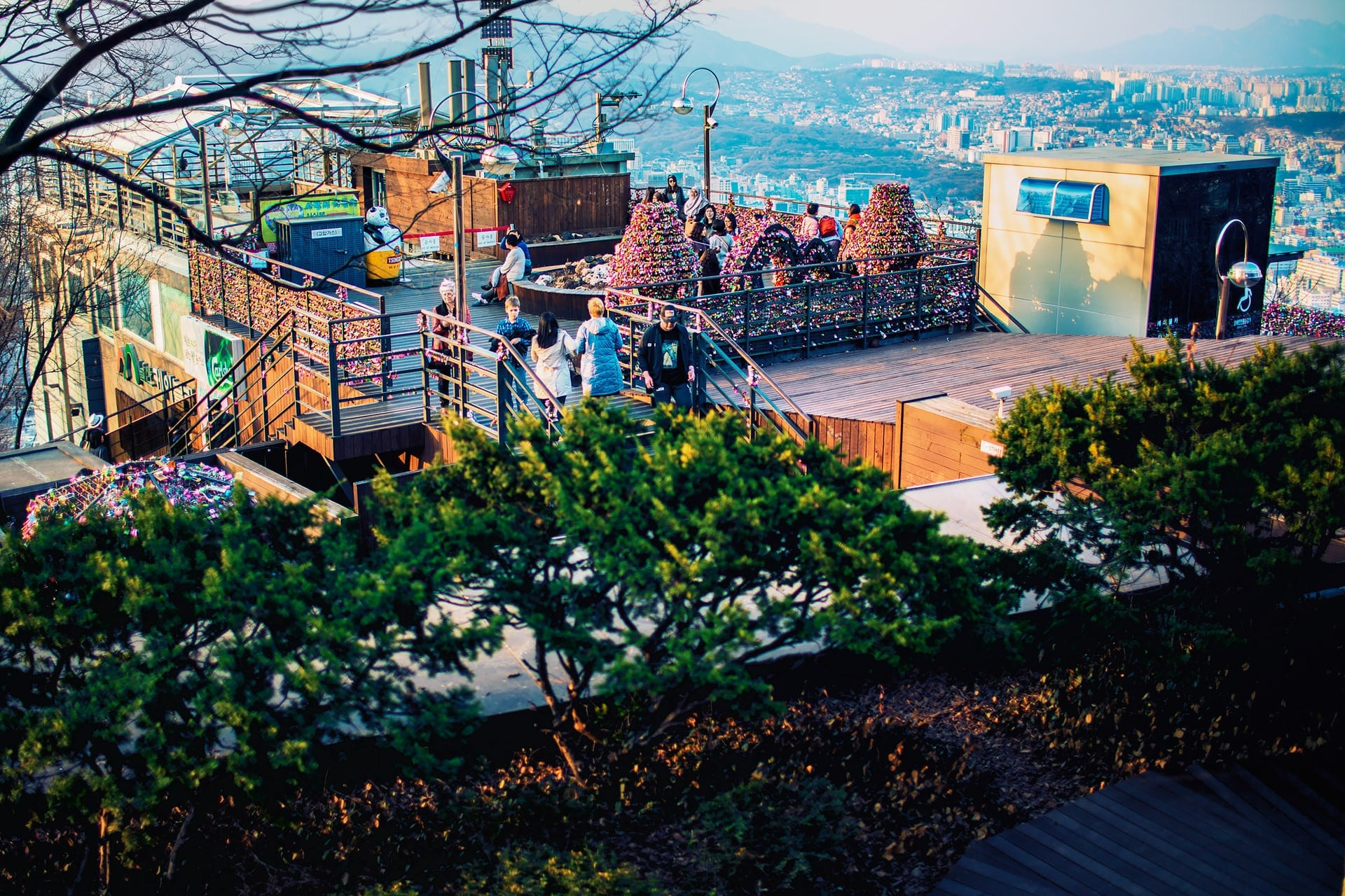 Love Lock observation deck area with view of Seoul City in the background