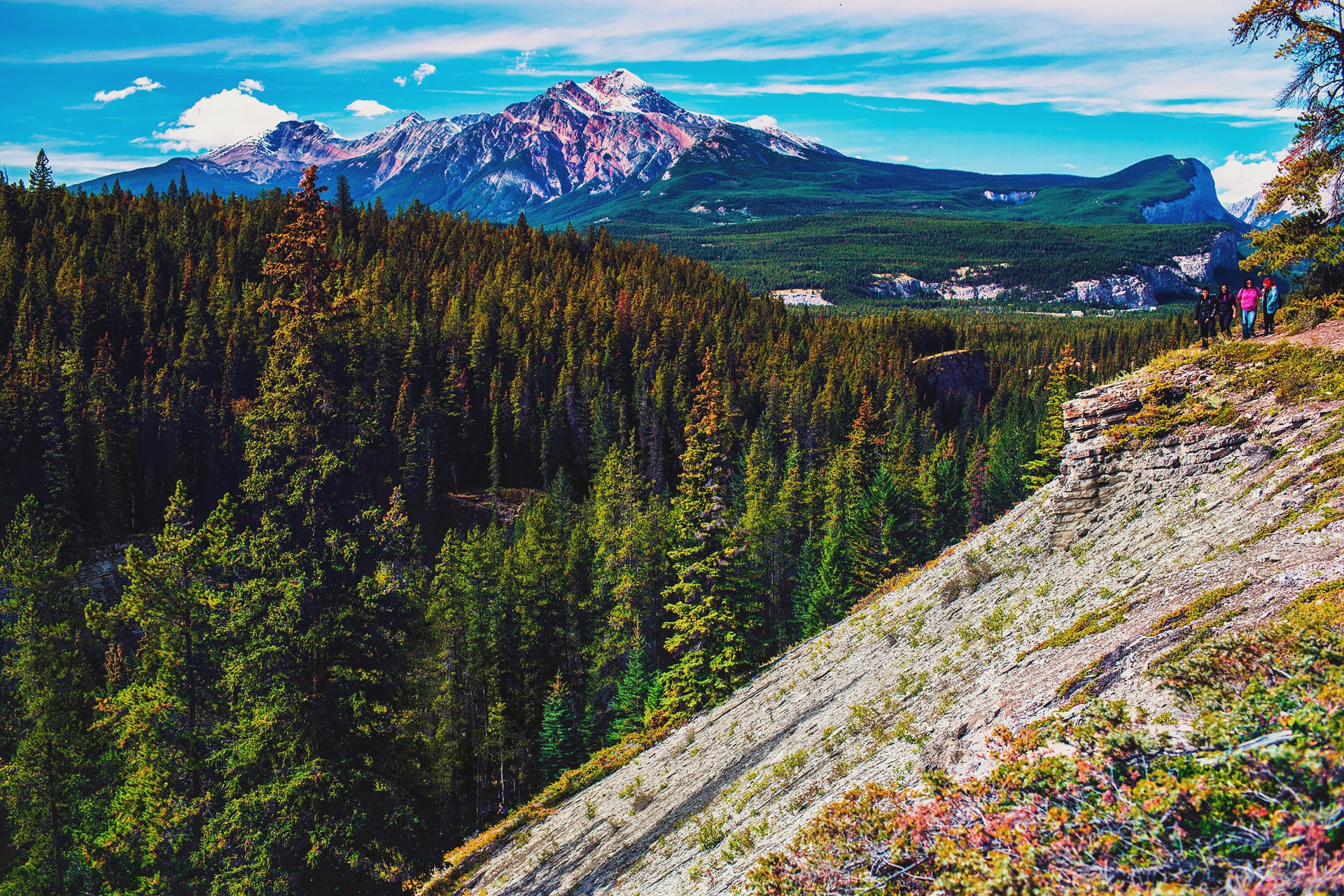 Forest valley and mountains can be seen at the Maligne Canyon hike Jasper National Park Alberta Canada