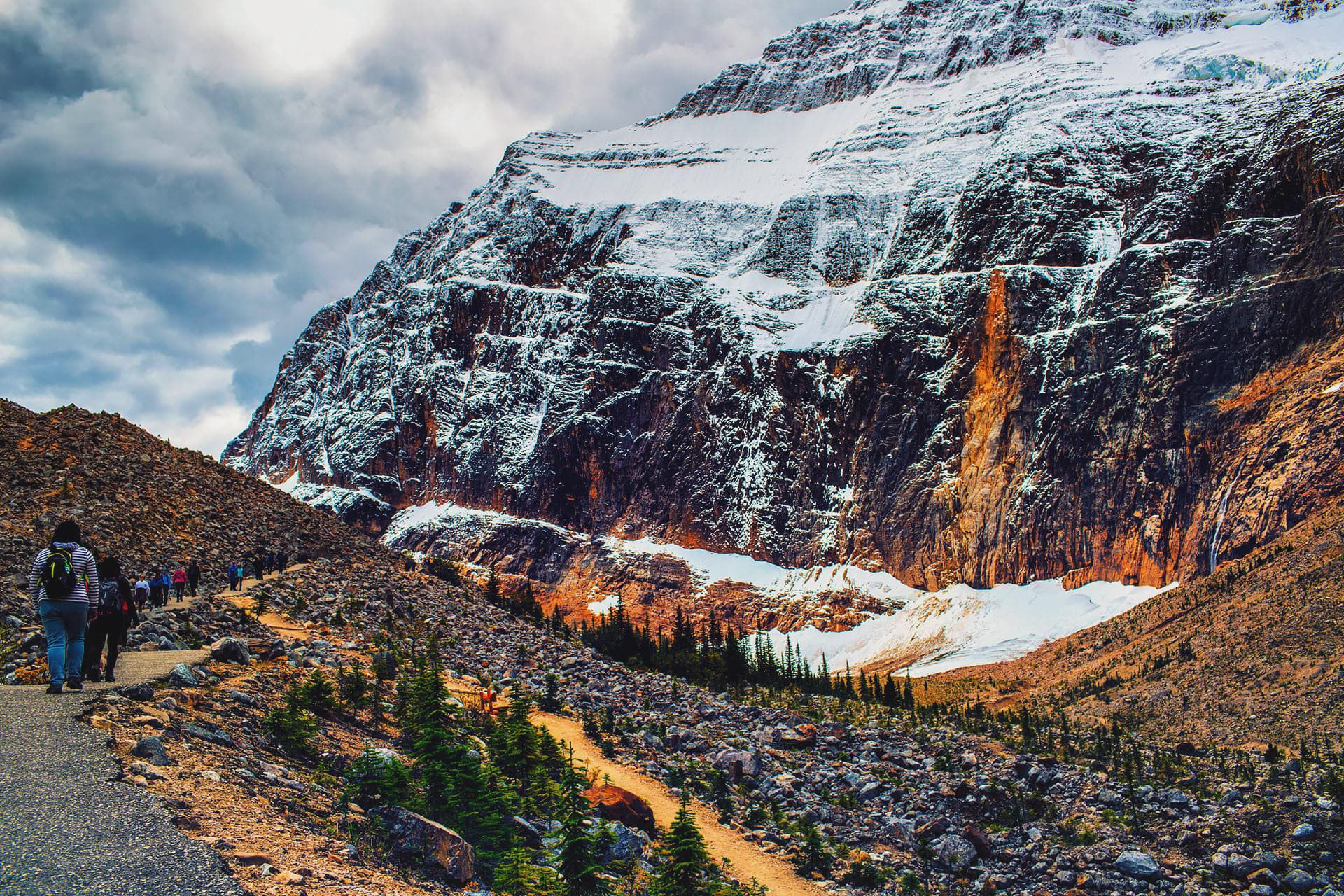 Beginning of the hike at Mount Edith Cavell Alberta Canada