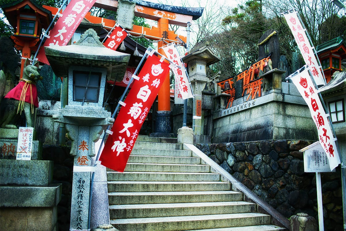 One of the many shrines at fushimi inari taisha shrine