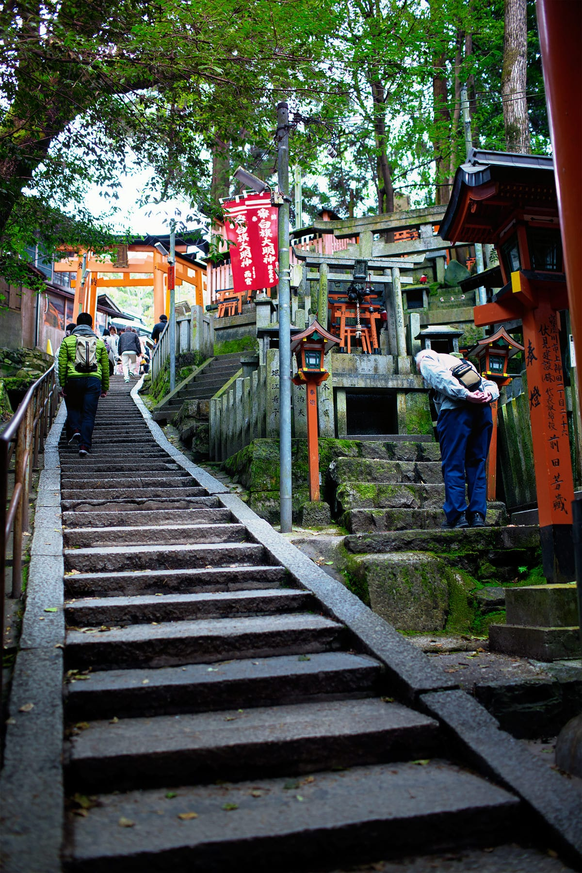 Steep flights of stair at Fushimi Inari Shrine