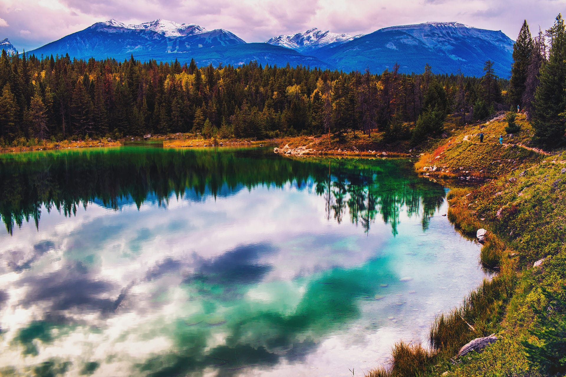 One of the five lakes can be seen from the valley of the five lakes hiking trail in Jasper National Park Alberta Canada