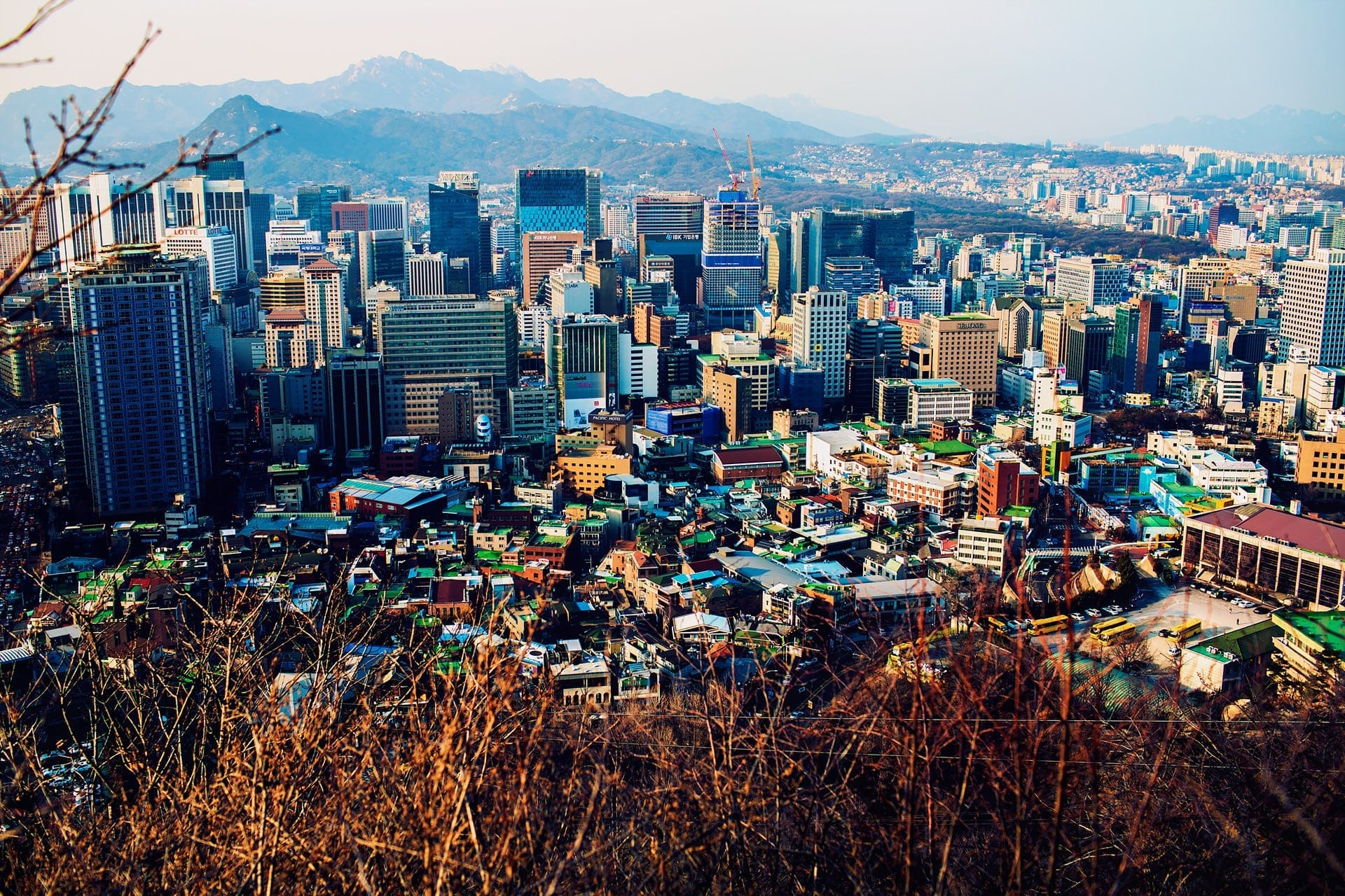 View of the city from N Seoul Tower viewpoint