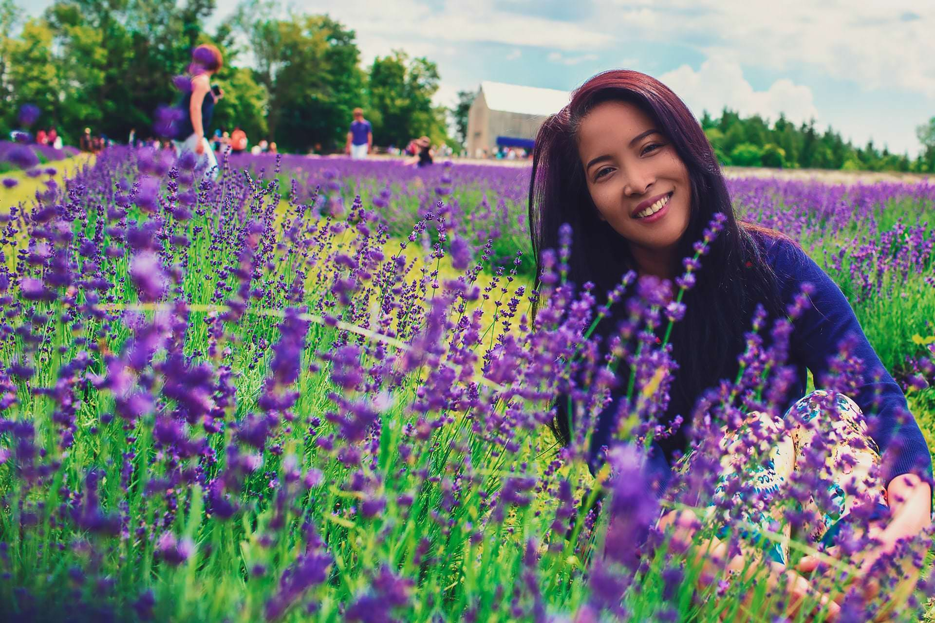 Yuen Mi at Terre Bleu Lavender Farm enjoying the Lavender Festival in Ontairo