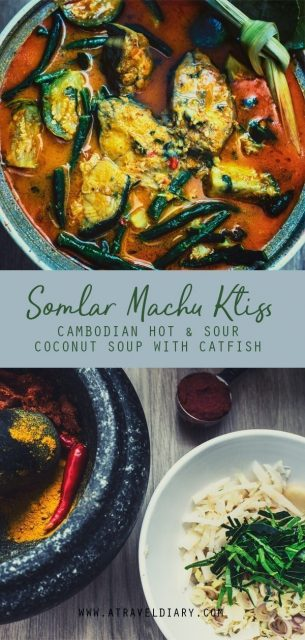 cambodian hot and sour coconut soup with catfish somlar machu ktiss