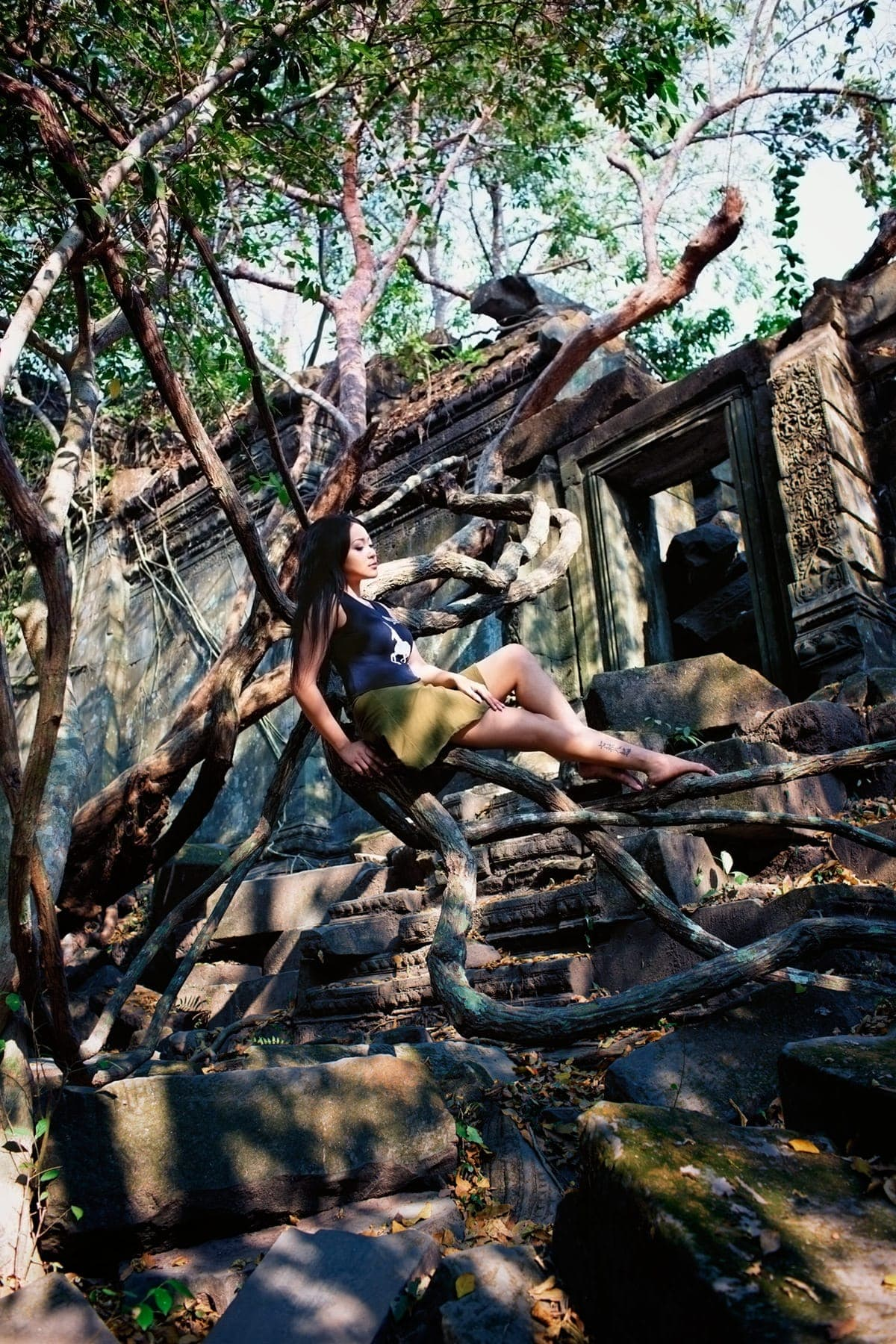 ruins jungles and swinging vines at Beng Mealea Angkor Temple