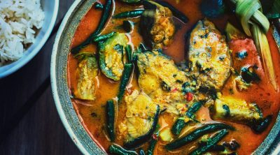somlar machu ktiss or cambodian hot and sour coconut soup with catfish