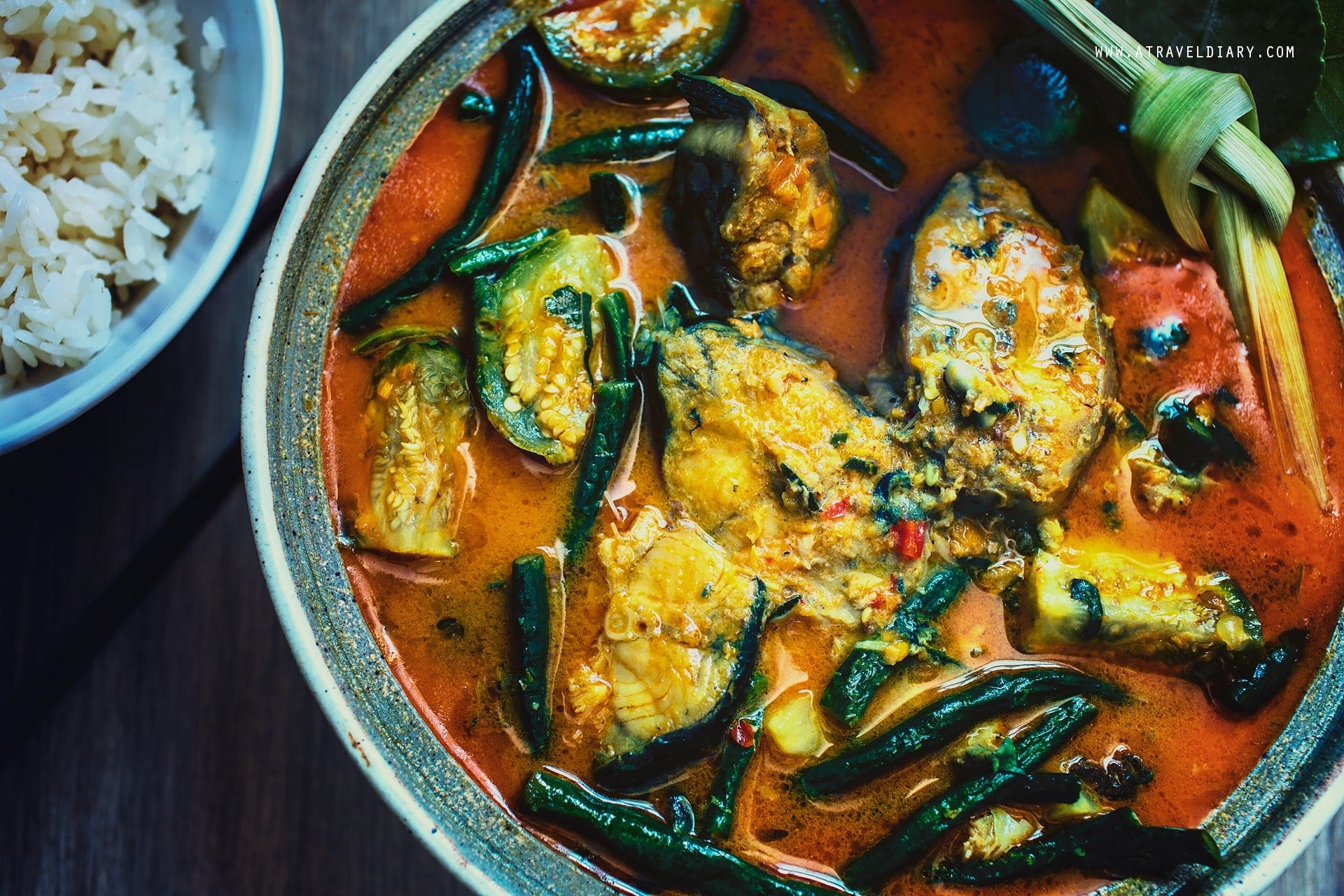 somlar machu ktiss or cambodian hot and sour coconut fish soup made with catfish