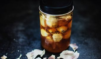 honey and garlic ferment in a glass jar for cold and flu season