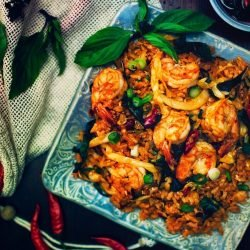 Thai Spicy Fried Rice with Basil and Shrimp